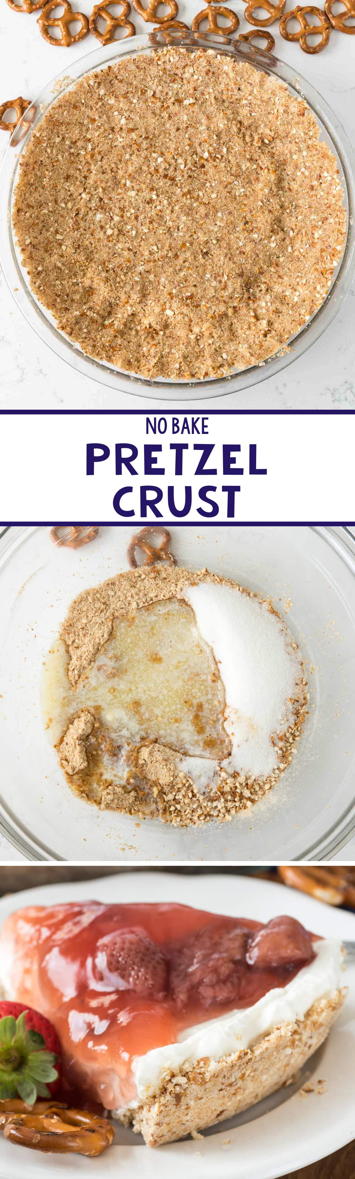 NO Bake Pretzel Crust - this easy no bake crust recipe is all pretzel! Perfect for a fruit or peanut butter or chocolate pie recipe!