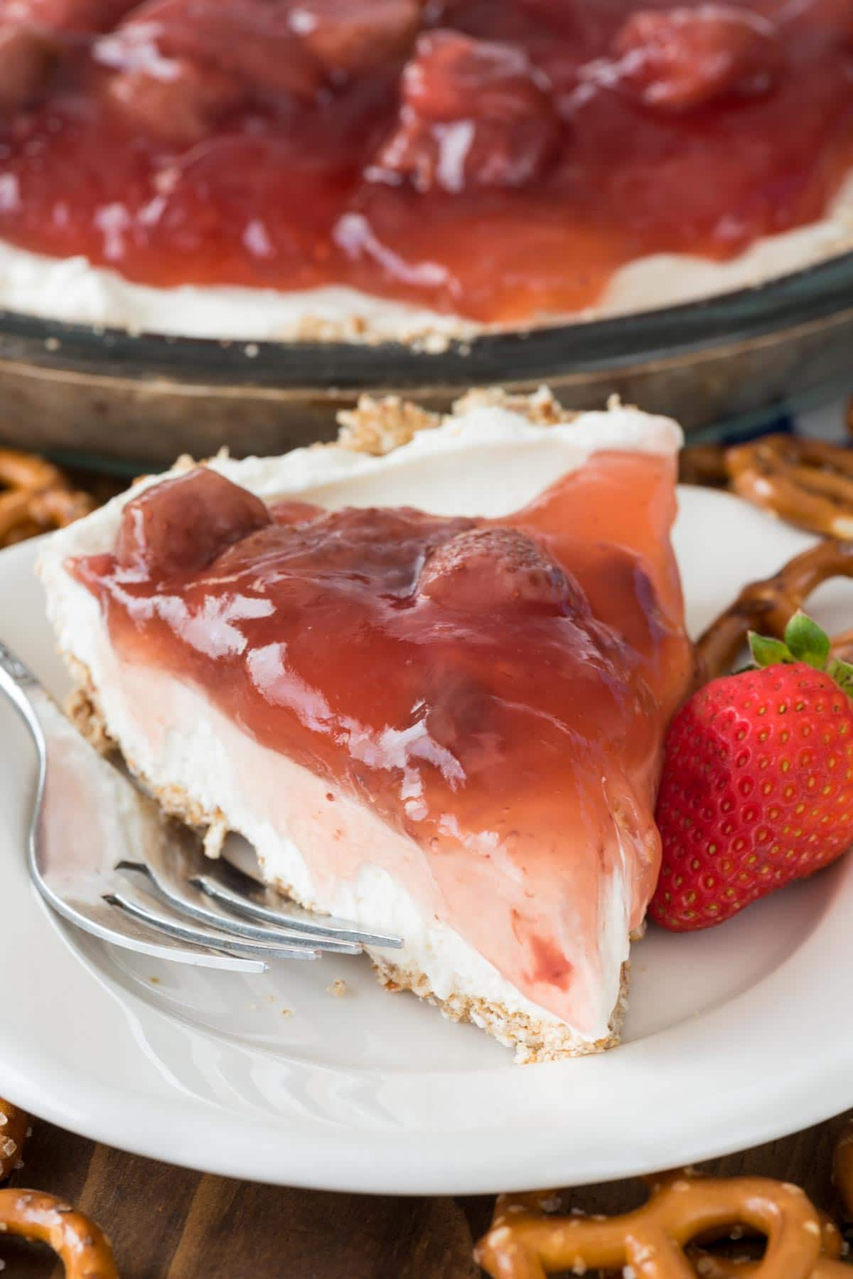 No Bake Strawberry Pretzel Salad Pie Crazy For Crust