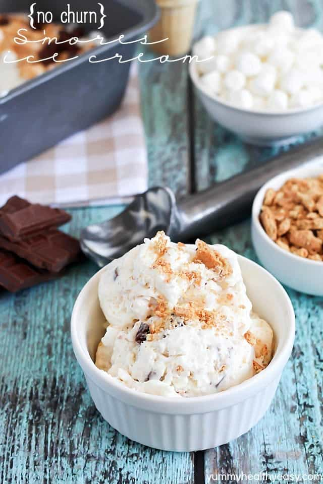 No Churn S'mores Ice Cream by Yummy Healthy Easy