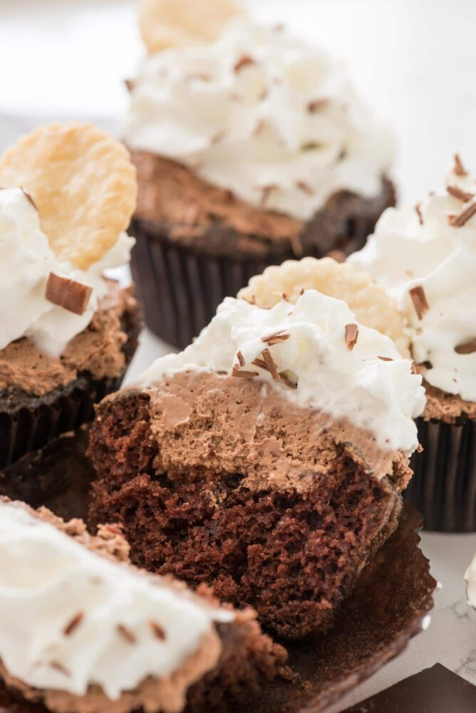 French silk cupcakes and one is split in half