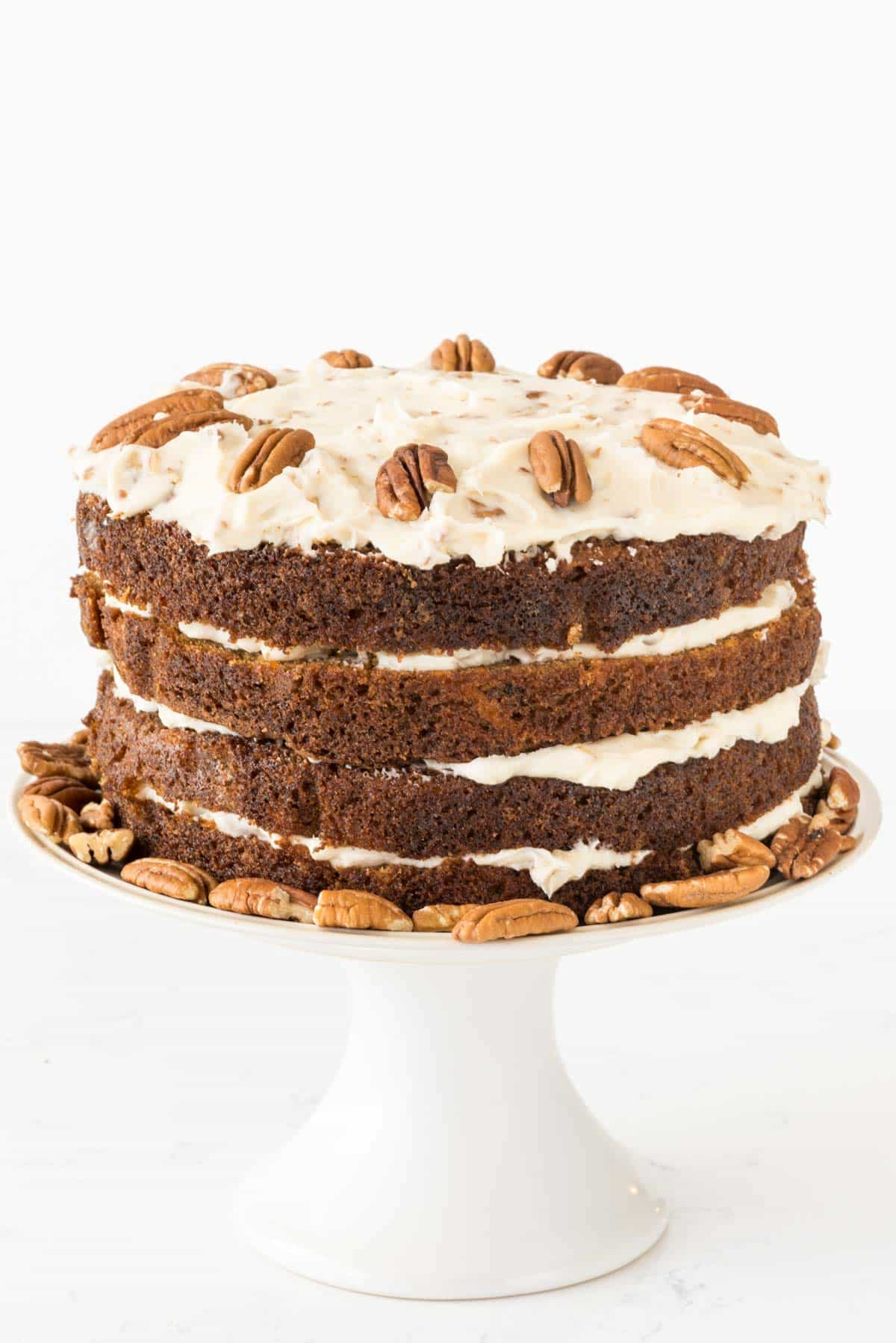 Naked Carrot Cake Recipe with Pecan Cream Cheese Frosting
