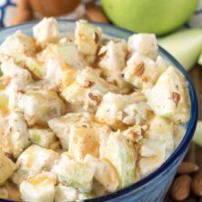 Large bowl of skinny caramel apple salad