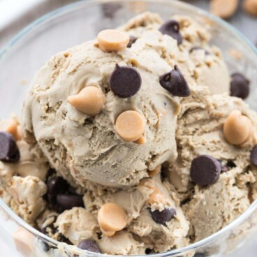 Overhead shot of peanut butter chip ice cream in glass dish
