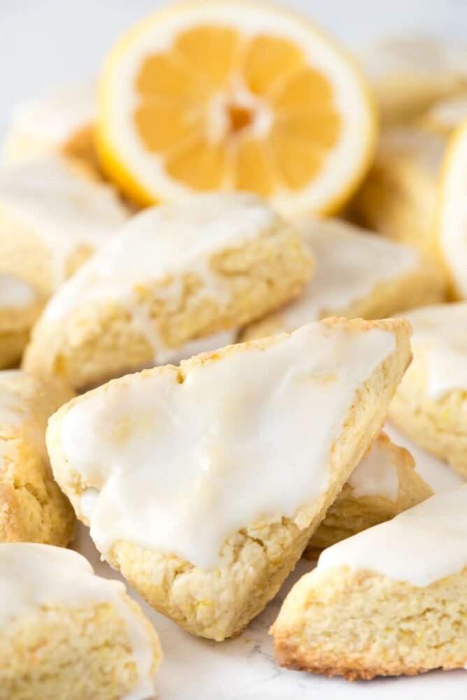 Mini lemon scones with icing.
