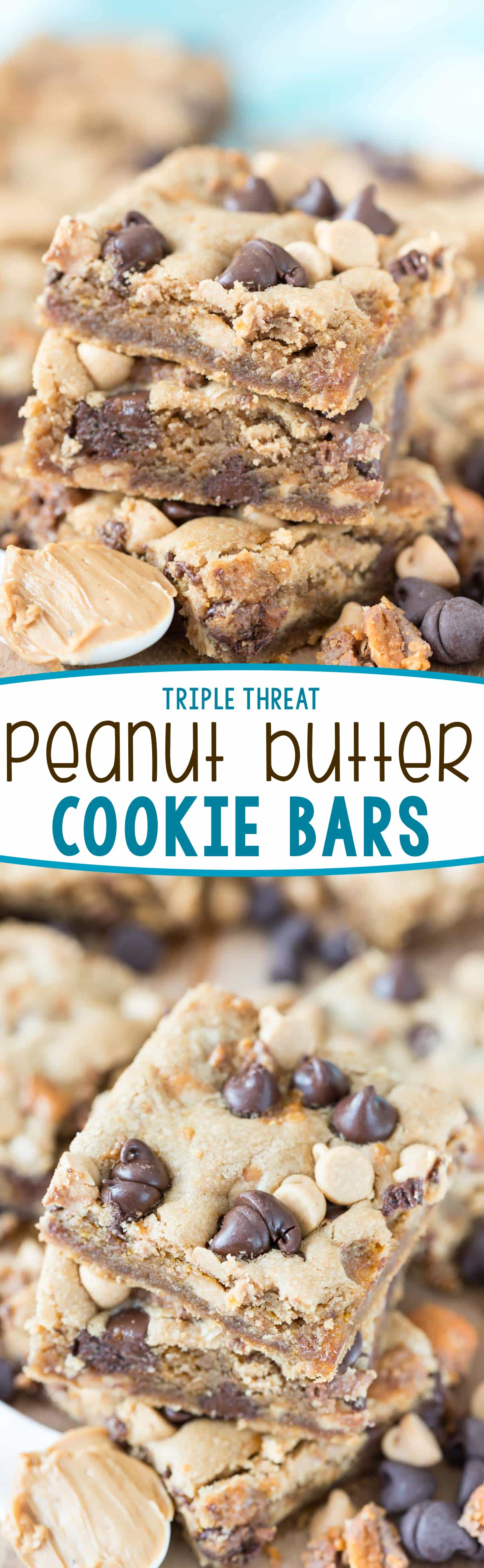 Triple Threat Peanut Butter Cookie Bars - this easy peanut butter cookie recipe is filled with peanut butter chips, Butterfingers candy bars, and chocolate. It's the BEST bar cookie recipe!