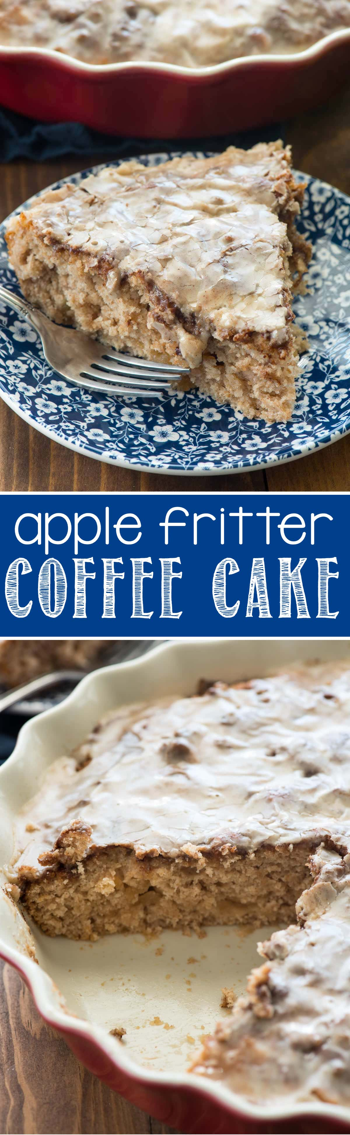 Apple Fritter Coffee Cake - this EASY coffee cake recipe tastes JUST like an apple fritter, complete with the glaze!