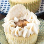Apple pie cupcake with cupcake cover coming off