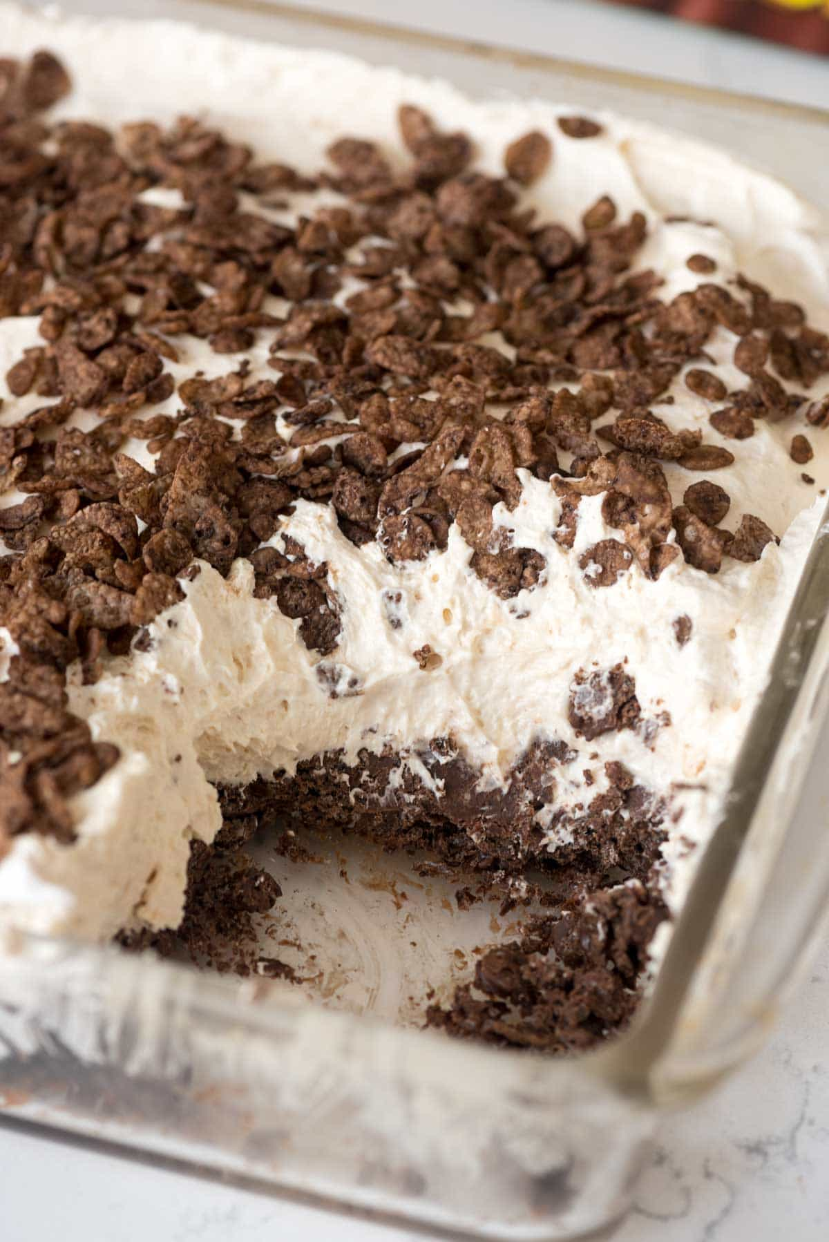 Easy Peanut Butter Cheesecake Cocoa Pebble No Bake Dessert