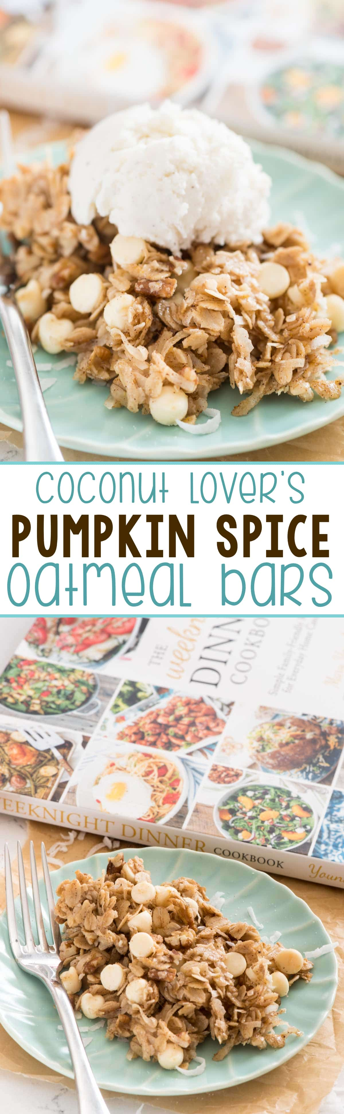 Easy Coconut Lover's Pumpkin Spice Oatmeal Bars - this simple dessert recipe is perfect with ice cream! It's got no flour and is FULL of pumpkin pie spice!