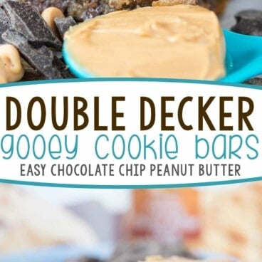 Double decker gooey cookie bars photo collage with words in the middle