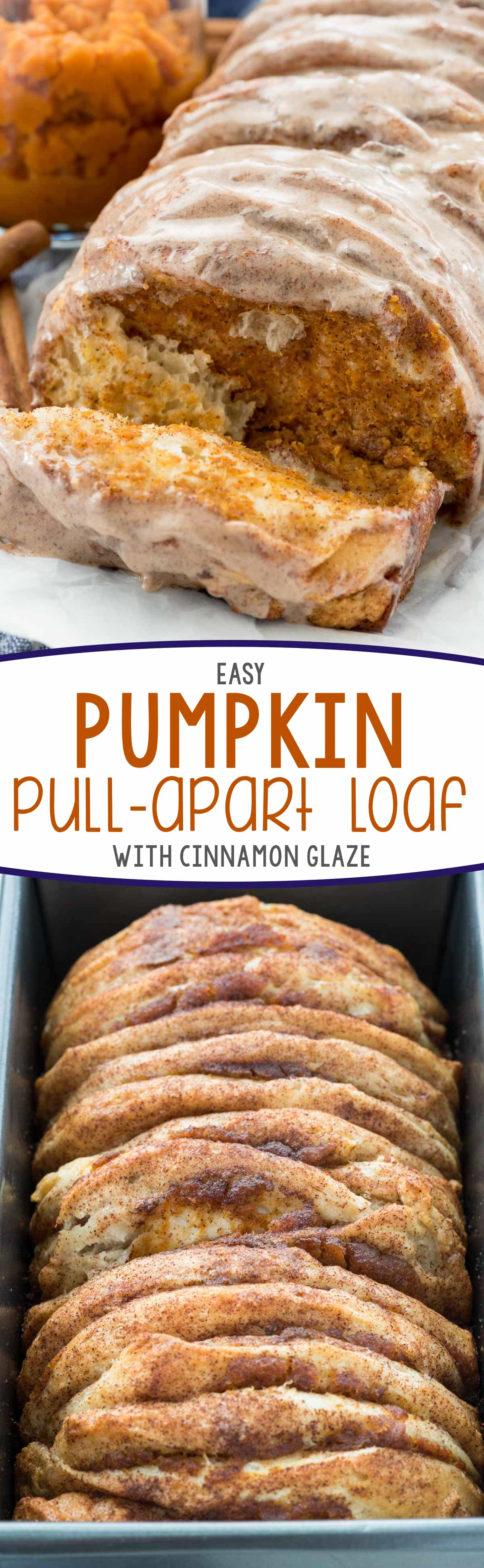 Easy Pumpkin Pull Apart Bread - this is the perfect pumpkin recipe! Refrigerated biscuits filled with pumpkin pie mixture - it's like pumpkin pie for breakfast!