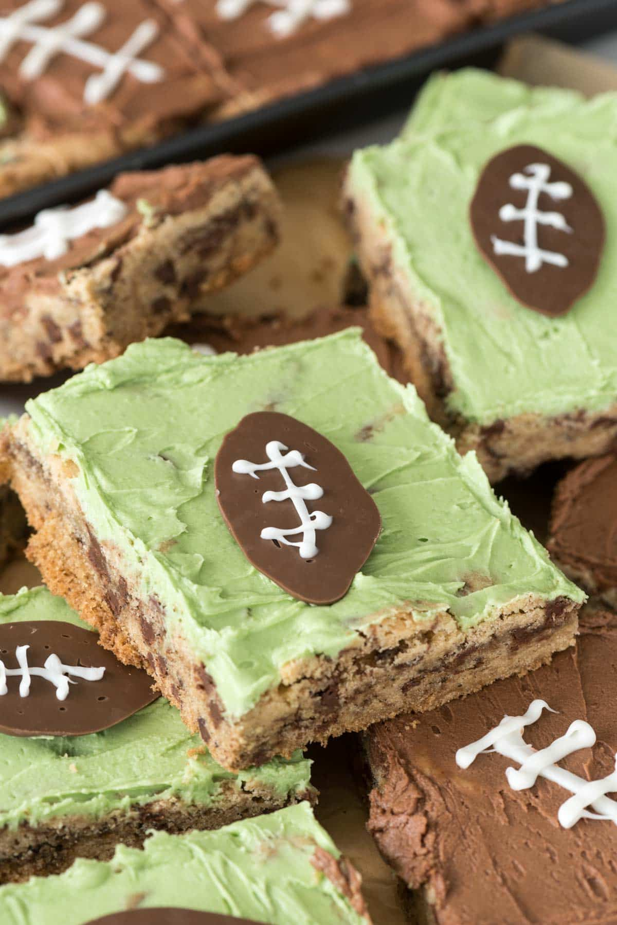 Easy Mega Chocolate Chip Cookie Cake decorated for football season!