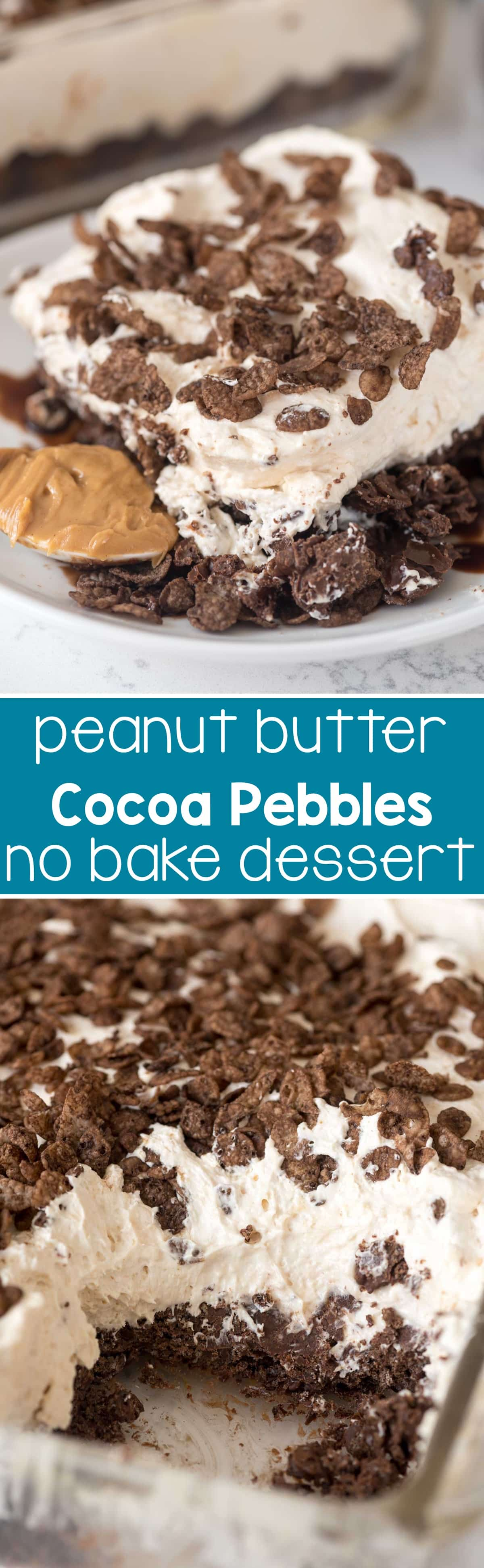 Cocoa Pebble No Bake Dessert - an EASY peanut butter cheesecake on top a cocoa pebble crust. This no bake dessert is the BEST recipe!