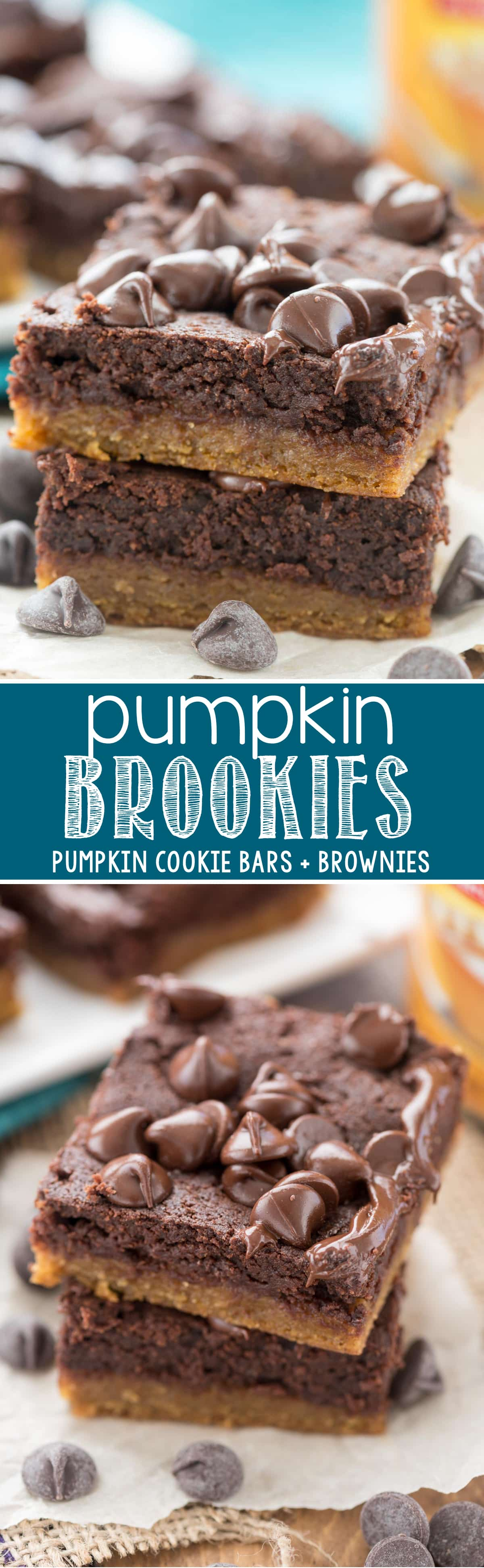 Pumpkin Brookies - EASY Pumpkin Cookie Bars with Brownies on top! We loved this super fudgy fall recipe!