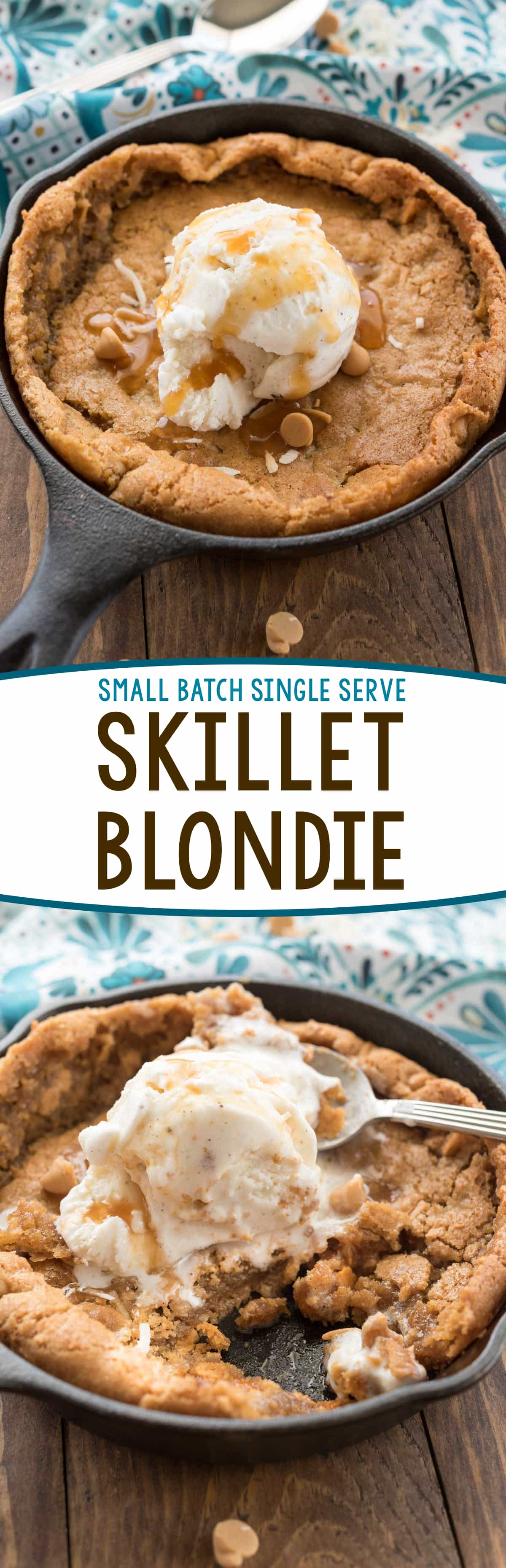 Small Batch Skillet Blondie - this easy blondie recipe is made for two! It mixes up in just a few minutes and is baked in a small pan or cast iron skillet. Top with ice cream for a single serve dessert!