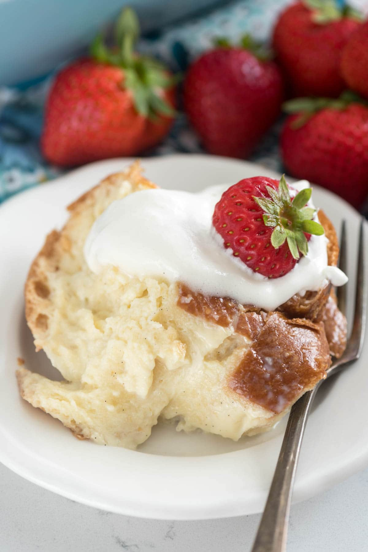 Tres Leches French Toast Casserole - this easy breakfast or brunch recipe coats Challah bread with a tres leeches mixture before and after baking!