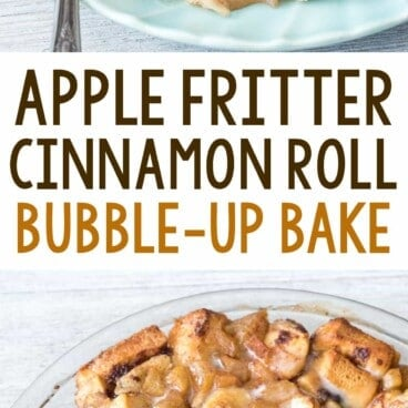Apple fritter cinnamon roll bake photo collage with text in the middle
