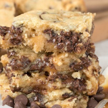 Stack of three chocolate chip caramel butter bars