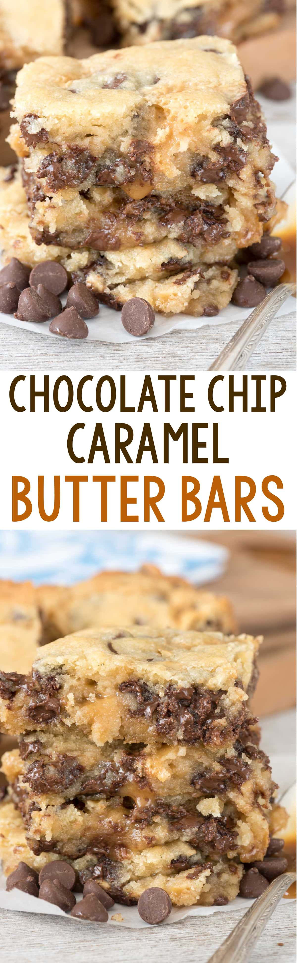 ... bars filled with chocolate chips and sandwiched with gooey caramel