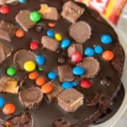 Gooey Candy Filled Brownie Cake