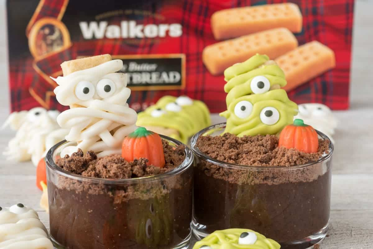 Use Walkers Shortbread or Mini Shortbread Fingers to make monsters and mummies for Halloween!