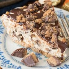 Slice of no bake peanut butter pie on plate