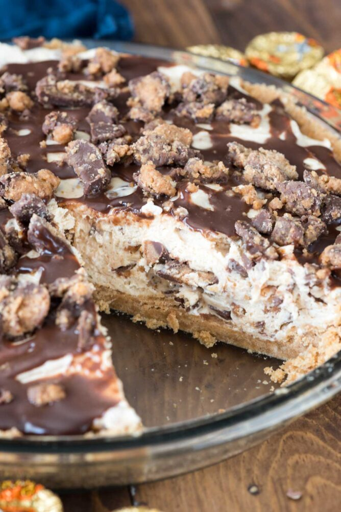 peanut butter pie with slice missing