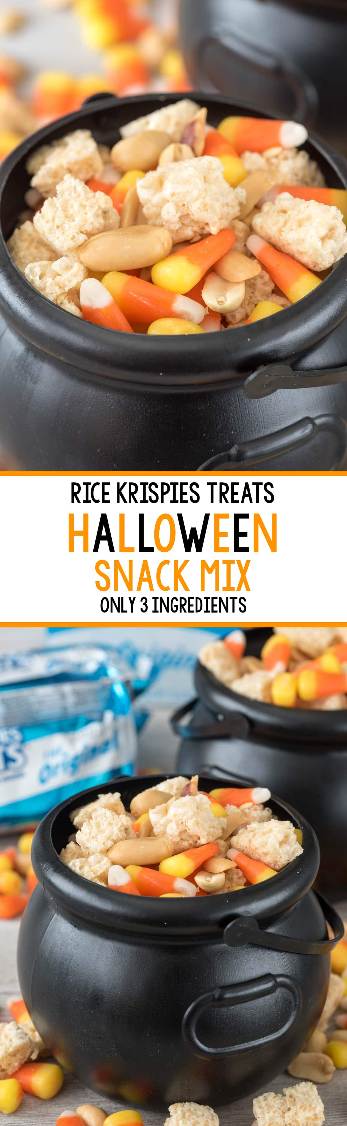 This EASY Halloween Snack Mix has only 3 ingredients! The crunchy sweetness tastes like a Payday Candy bar!