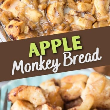 apple cinnamon roll bake in pan and on plate