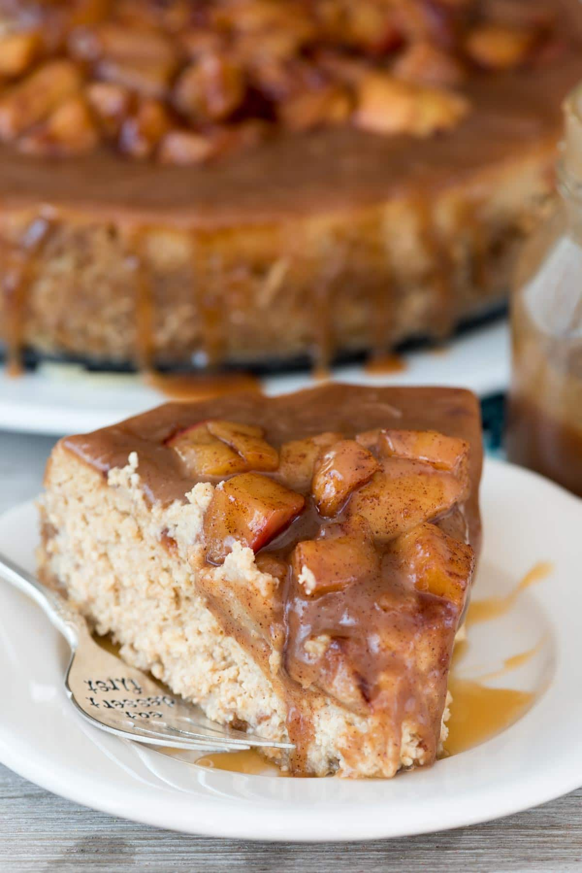 Caramel Apple Cheesecake with Nilla Wafer Crust