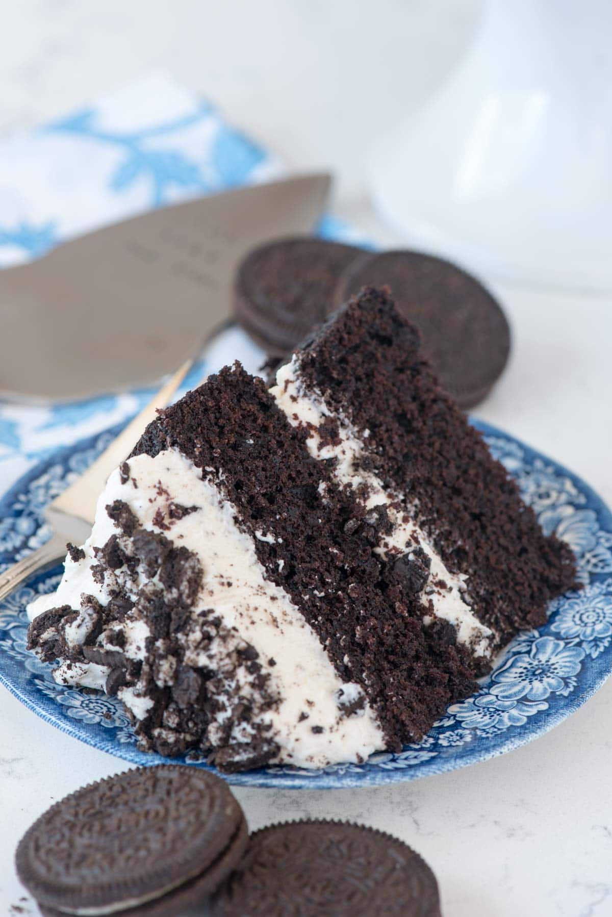 Extreme Cookies 'n Cream Cake - this cake tastes like an Oreo cookie! Dark chocolate cake layers sandwiched with a marshmallow buttercream frosting and lots of crushed Oreo cookies. I made two of these in two days!