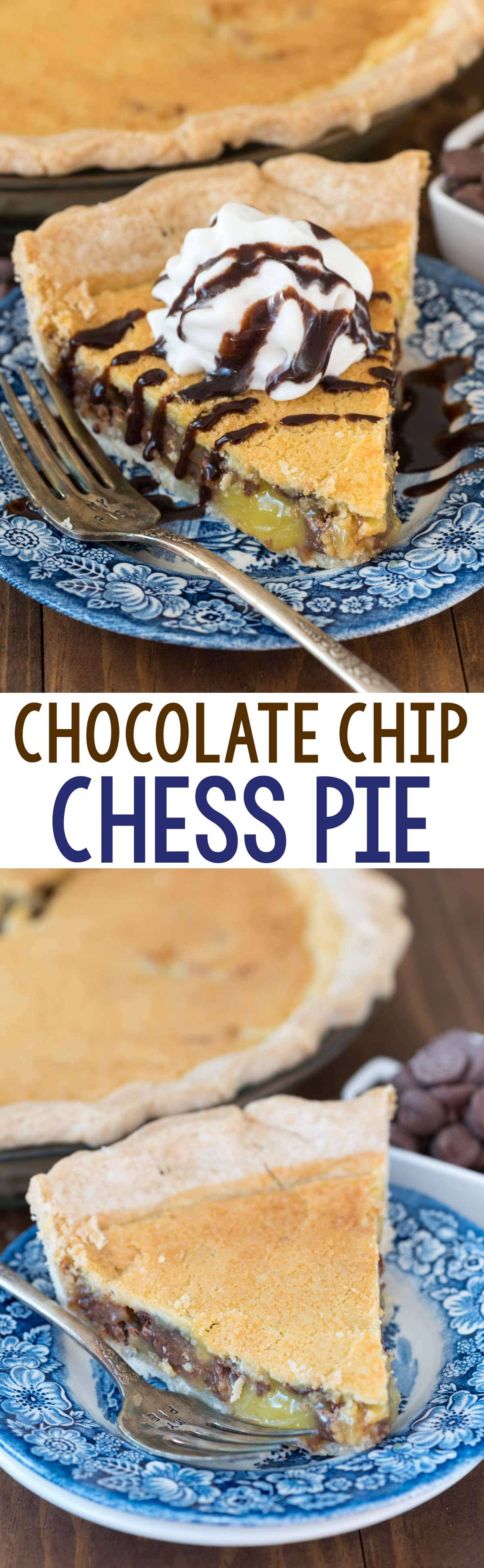 Chocolate Chip Chess Pie - this easy classic chess pie recipe is FULL of chocolate chips! It's the perfect pie for any holiday - everyone LOVES it!