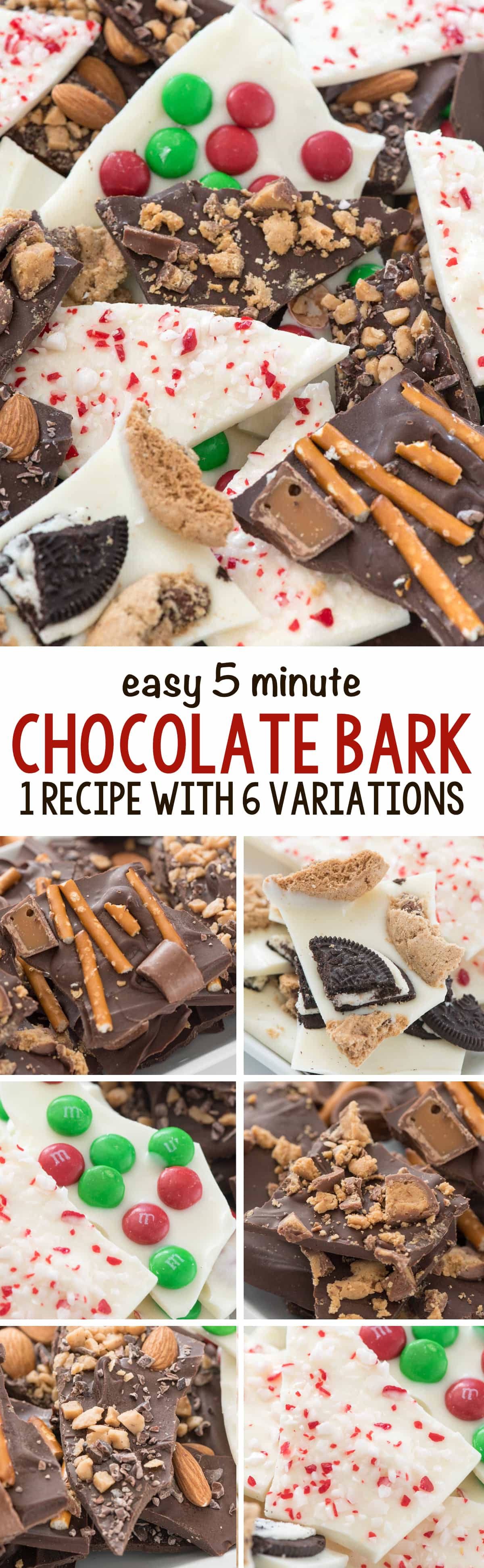 5 Minute Chocolate Bark - this easy recipe shows you how to make bark over 6 ways using only 2 basic ingredients!