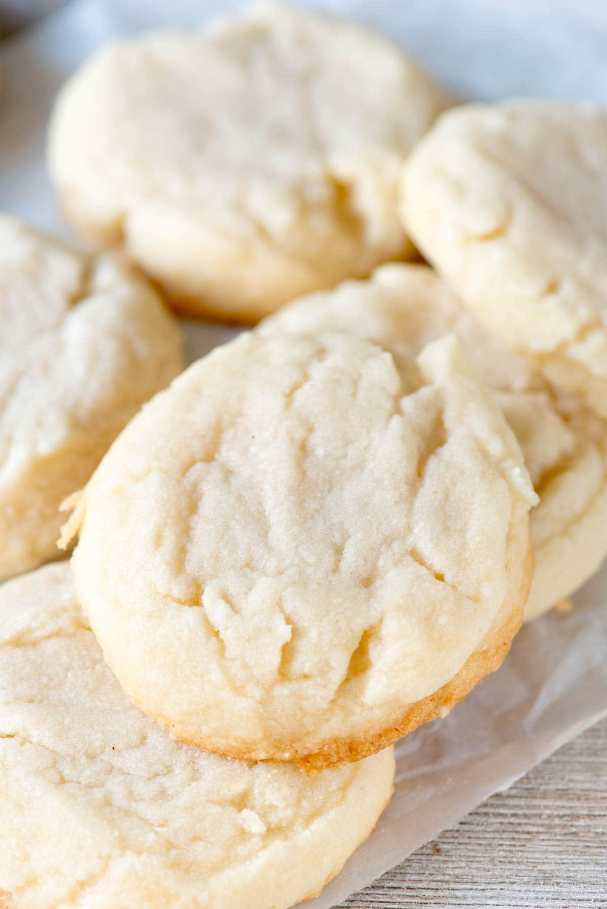 Soft and Chewy Shortbread Cookies; There are only 4 ingredients in the easy basic shortbread dough and it bakes up to a soft and chewy cookie!