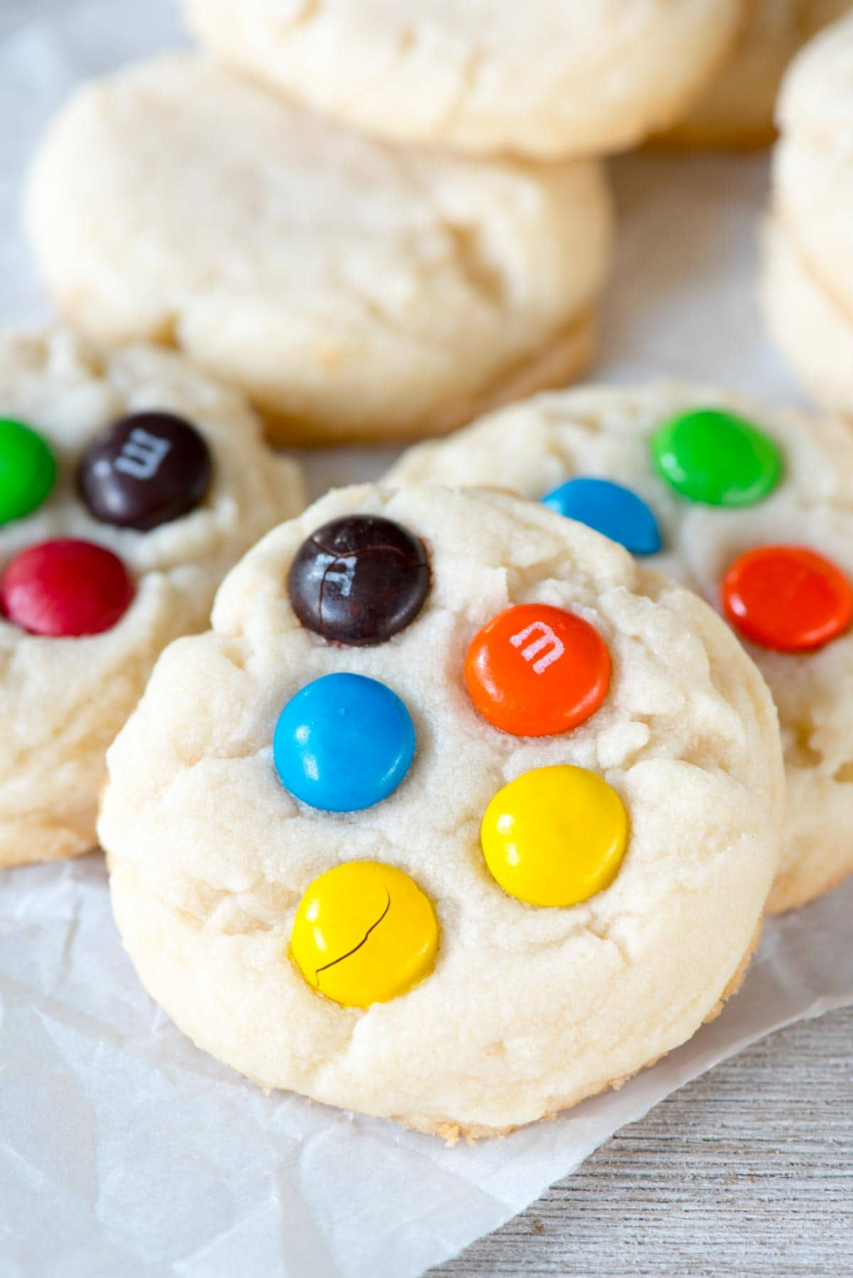 Soft and Chewy Shortbread Cookies with M&Ms - the perfect easy cookie recipe!