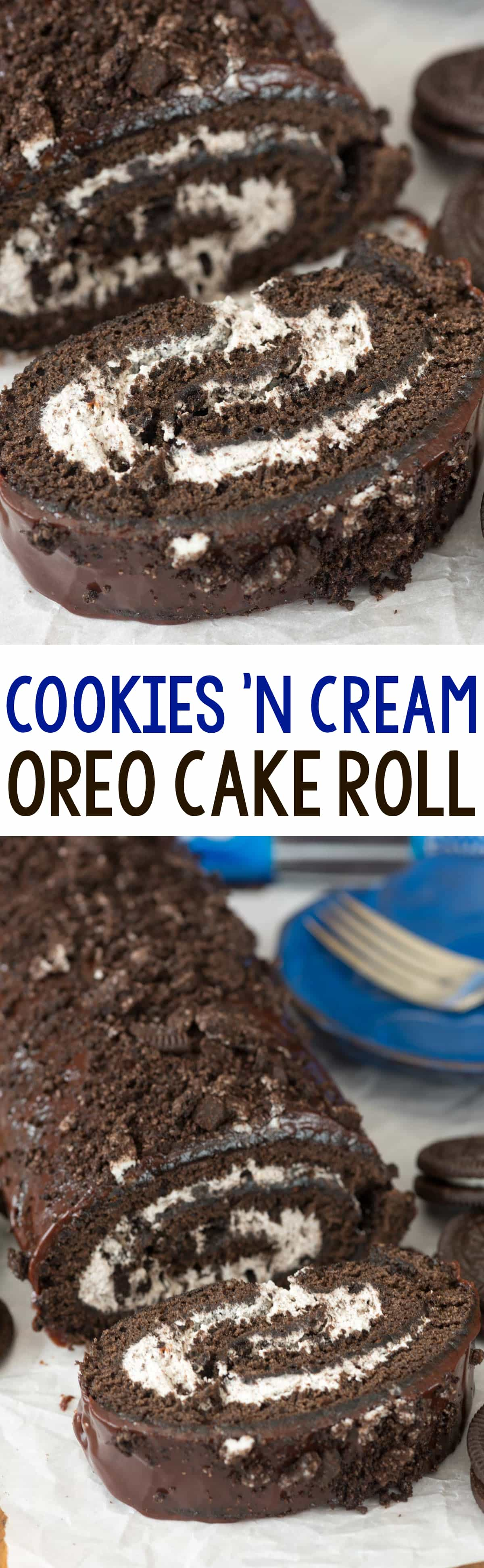 Cookies 'n Cream Oreo Cake Roll - Crazy for Crust
