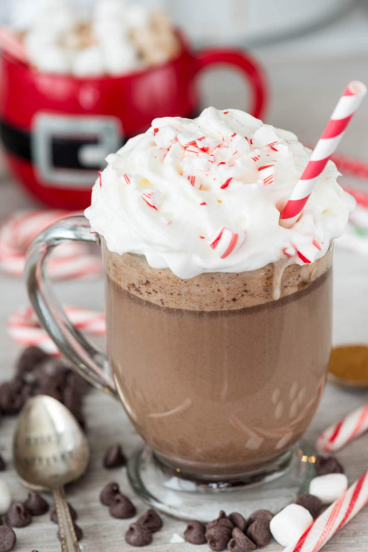 Slow Cooker Peppermint Mocha Snuggler - this easy crockpot hot chocolate recipe is filled with peppermint flavor! Keep it plain for kids or make it an adult cocktail with espresso and schnapps!