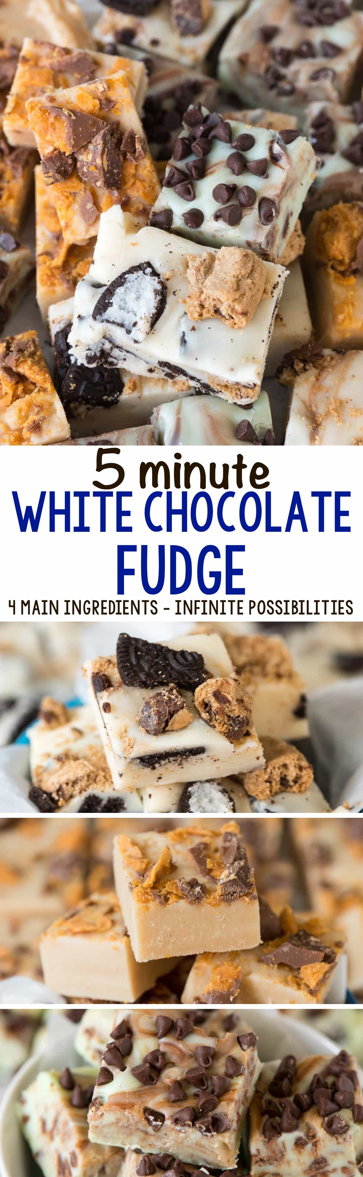 5 Minute White Chocolate Fudge (3+ ways) - Crazy for Crust