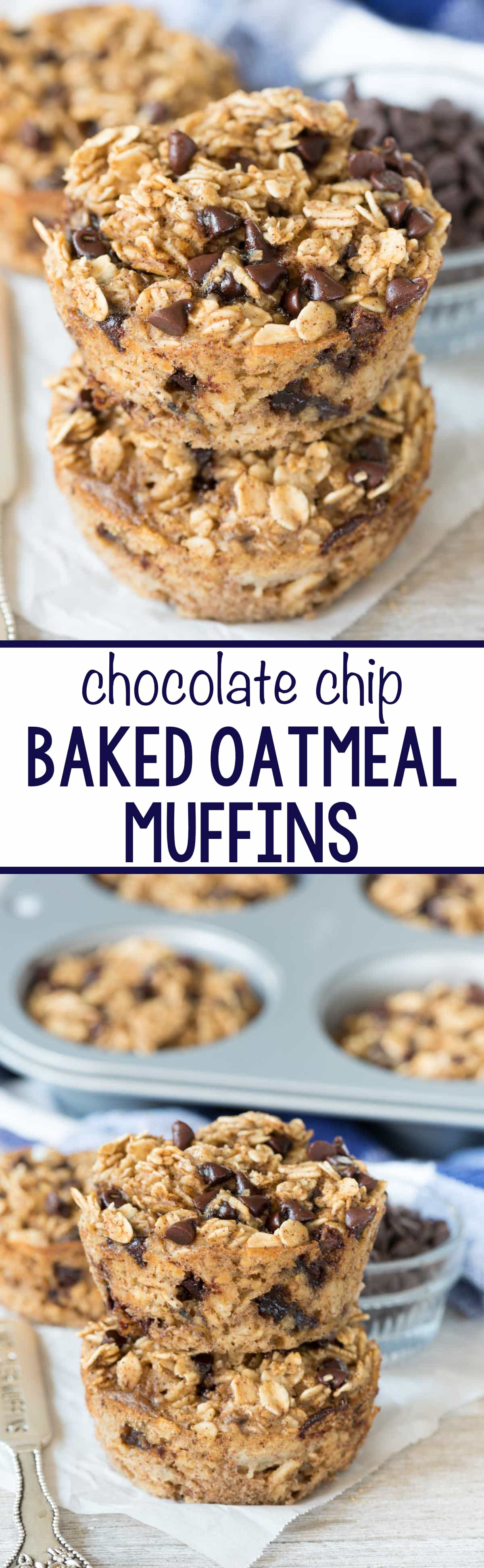 Chocolate Chip Baked Oatmeal Muffins - this EASY breakfast recipe is great for on the go! It's a healthier muffin that's dairy free and has no oil or flour but tastes like an amazing chocolate chip dessert!