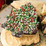 EASY Chocolate Dipped Shortbread is the perfect 5 minute semi-homemade cookie recipe. The perfect shortbread recipe to make when you're short on time and need dessert or a gift!