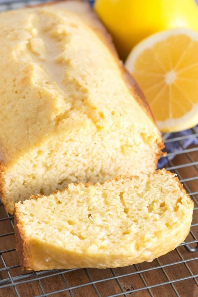 lemon loaf sliced on rack