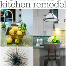 Collage of 7 decorating tips to achieve a GREEN kitchen