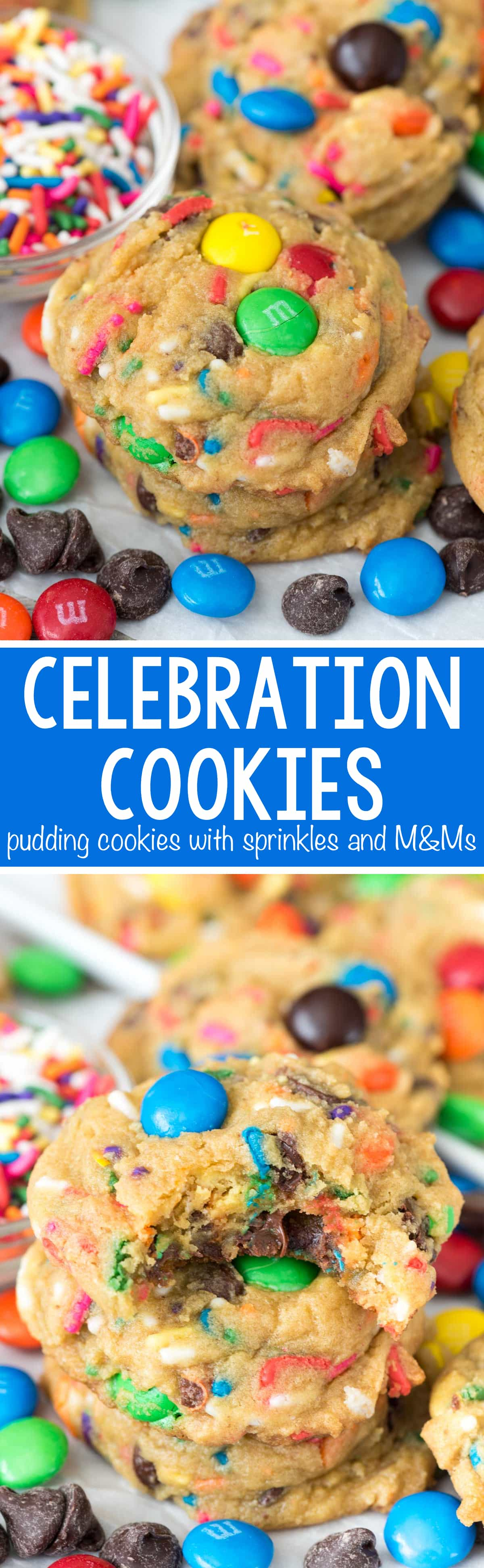 Celebration Pudding Cookies - this EASY pudding cookie recipe is filled with rainbow sprinkles and M&Ms. They're the perfect cookie to celebrate every day!