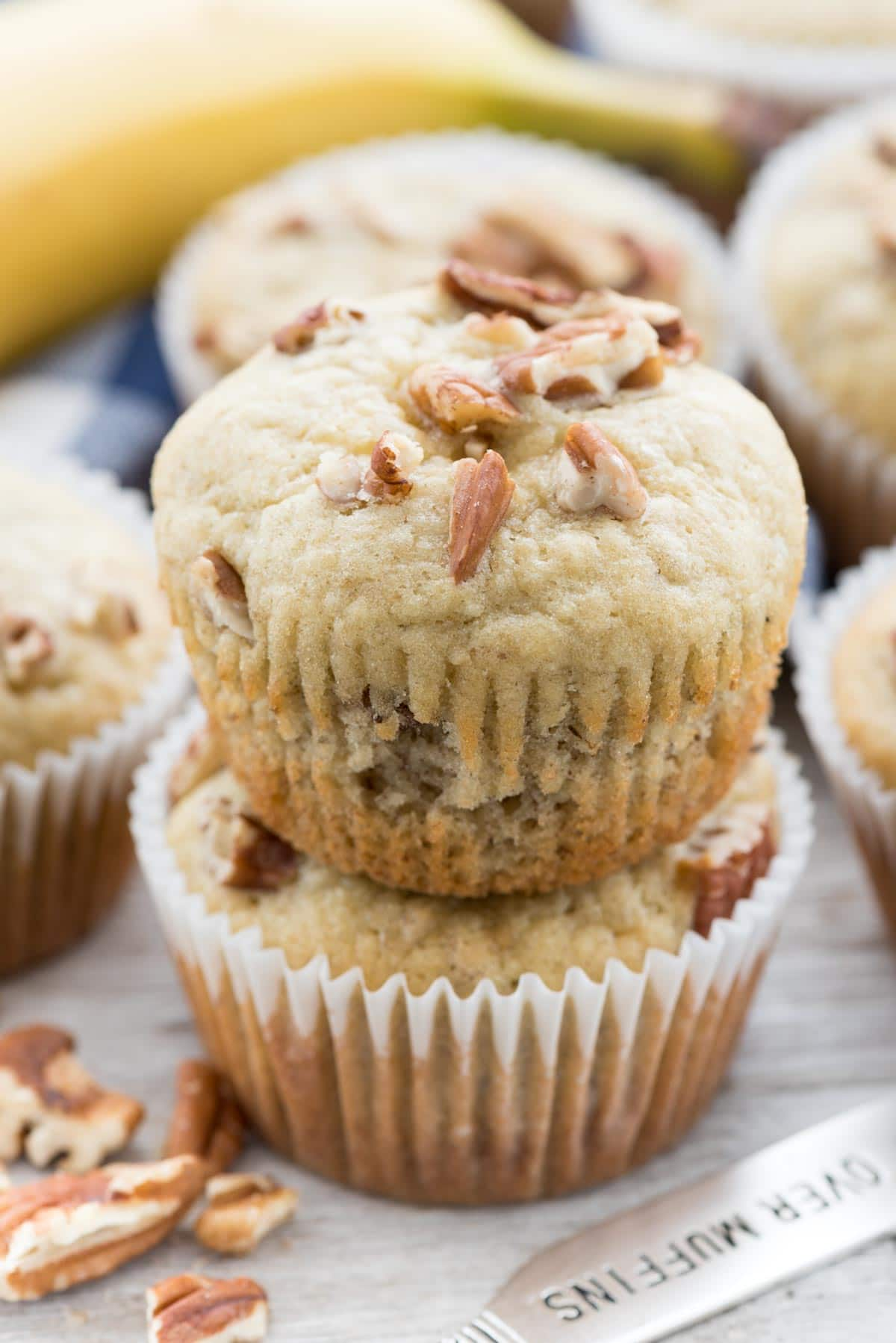 Cream Cheese Banana Muffins - this EASY banana muffin recipe is my favorite and it's FULL of a sweet cream cheese mixture! Everyone loves these muffins!