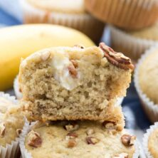 Stack of Cream Cheese Banana Muffins - this EASY banana muffins recipe is my favorite, and it's FULL of a sweet cream cheese mixture! Everyone loves these muffins!