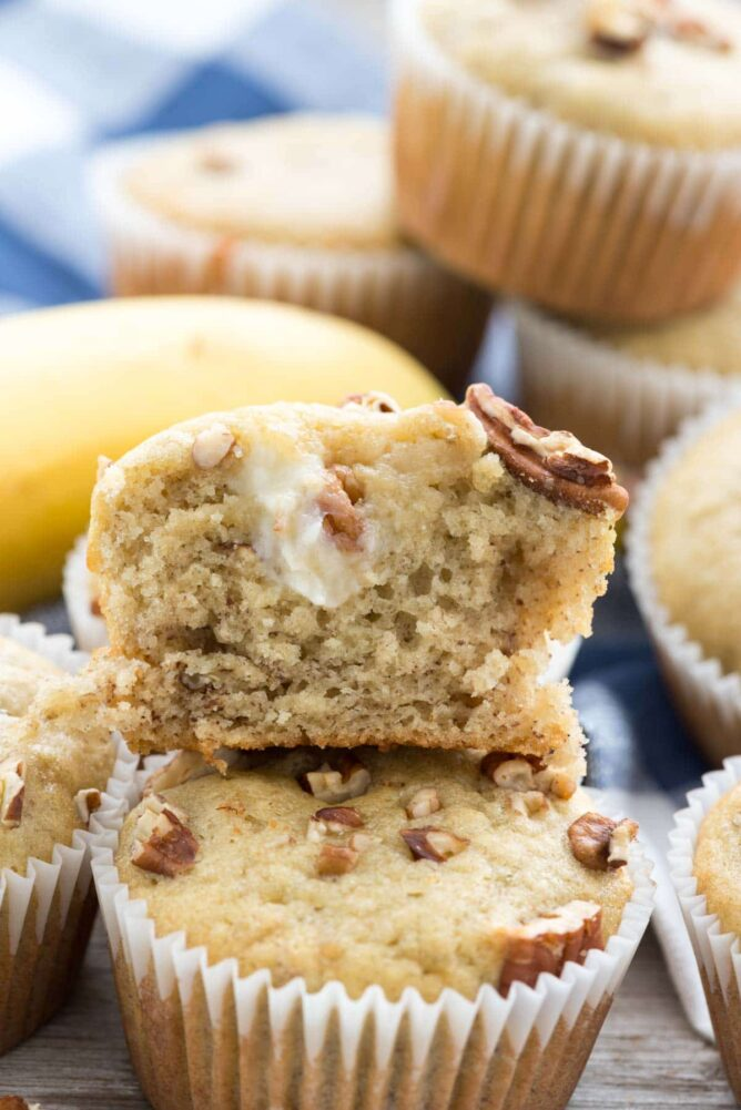 Cream Cheese Banana Muffins  with one cut open