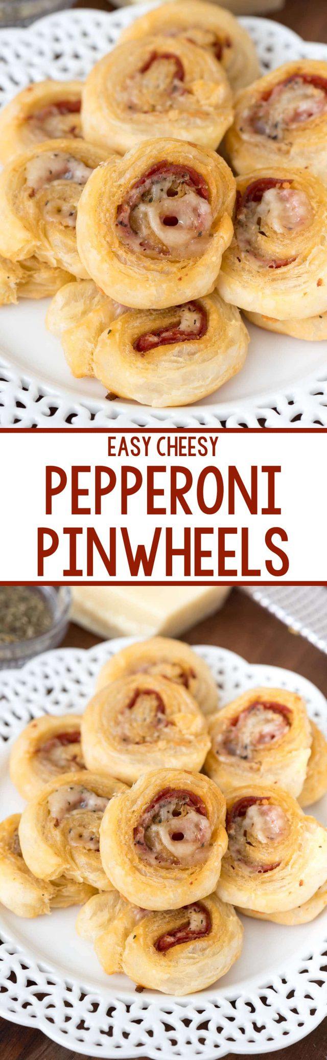 collage of pepperoni pinwheels