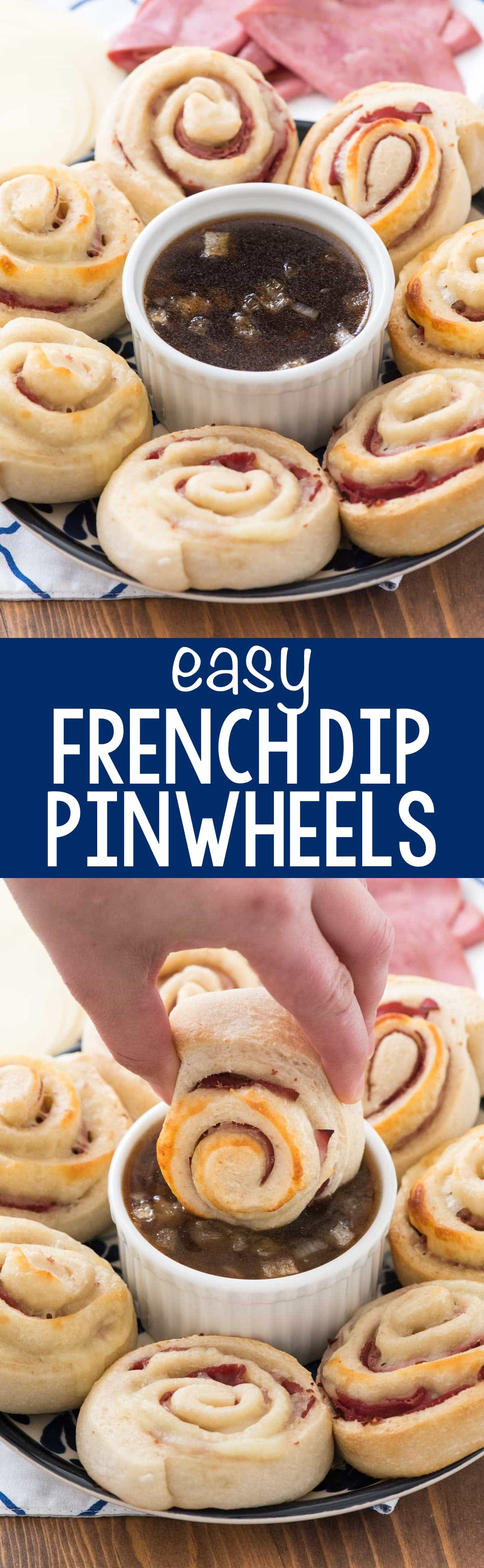 French Dip Pinwheels - this easy pinwheel recipe is perfect for an appetizer or dinner! Pizza dough is wrapped with roast beef and cheese and dipped in a french dip sauce!