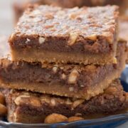 Stack of Flourless Peanut Butter Brookies on a blue plate