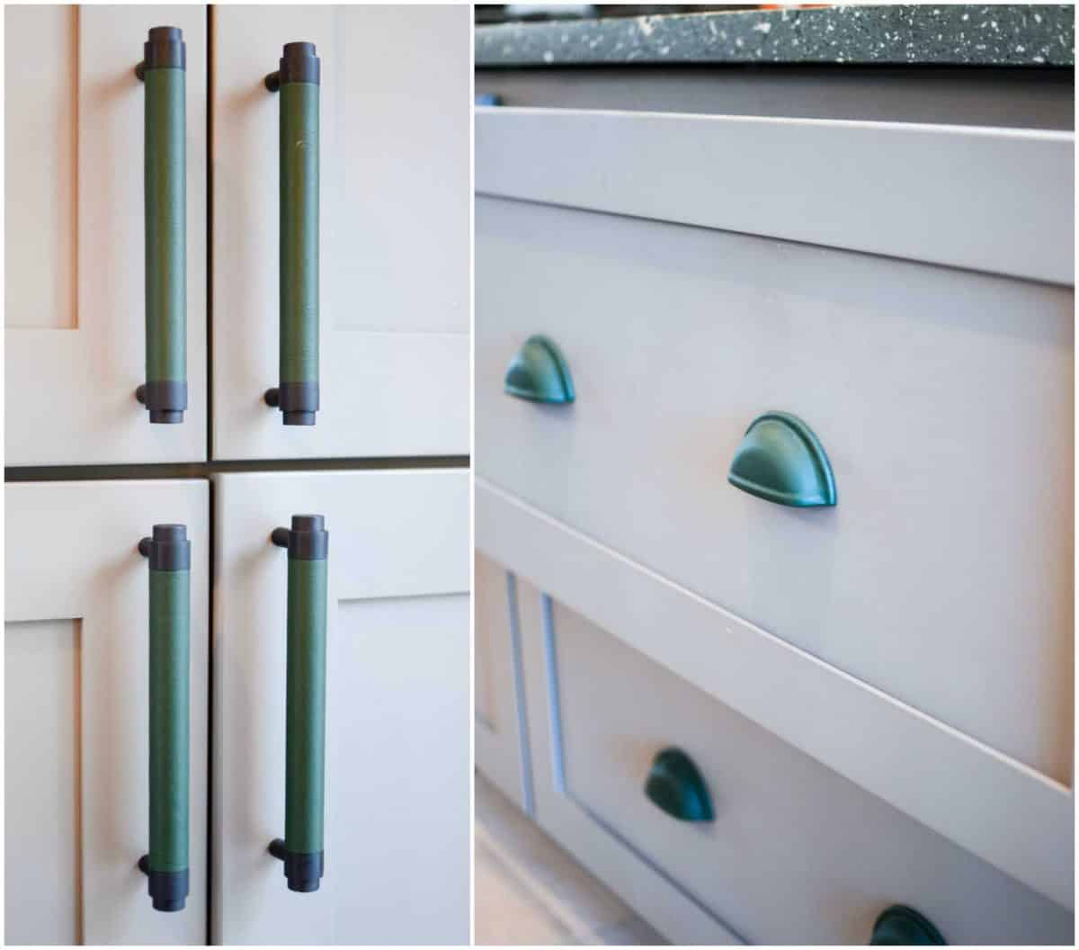 7 Tips for decorating a GREEN kitchen: adding accents via green pulls for the cabinets.